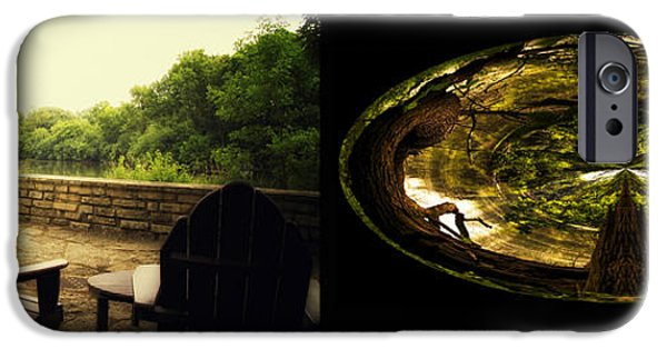 Nature Center Pond iPhone Cases - Relaxing By The River Wood Fullersburg Woods 2 Panel iPhone Case by Thomas Woolworth