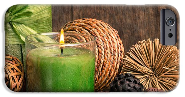 Bamboo Leaves iPhone Cases - Relaxing Spa candle iPhone Case by Edward Fielding