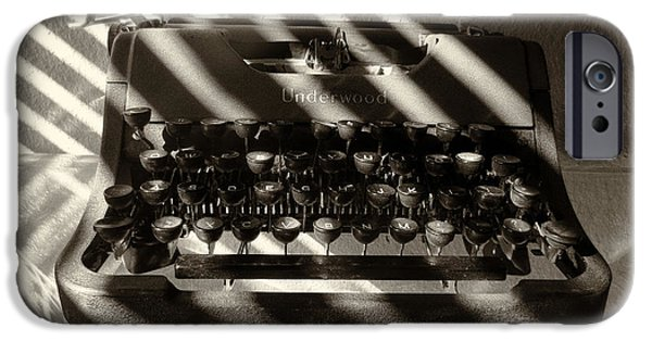 Typewriter Keys Photographs iPhone Cases - Relic in Sepia iPhone Case by Tony Grider