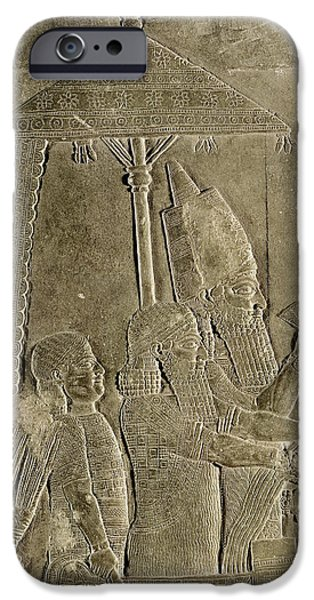 Slaves iPhone Cases - Relief Depicting The Chariot Of King Assurbanipal 669-626 Bc Detail Of The Canopy, From The Palace iPhone Case by Assyrian
