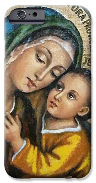 Christian Art . Devotional Art Paintings iPhone Cases - Religious Art 1 iPhone Case by Victor Gladkiy