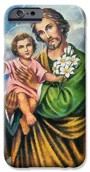 Christian . Devotional Paintings iPhone Cases - Religious Art 11 iPhone Case by Victor Gladkiy