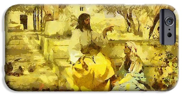 Christian . Devotional Paintings iPhone Cases - Religious Art 12 iPhone Case by Victor Gladkiy