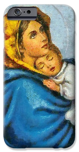 Christian . Devotional Paintings iPhone Cases - Religious Art 15 iPhone Case by Victor Gladkiy
