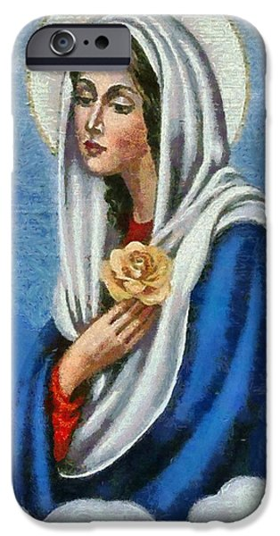 Christian Art . Devotional Art Paintings iPhone Cases - Religious Art 19 iPhone Case by Victor Gladkiy