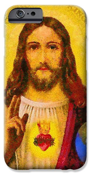 Christian . Devotional Paintings iPhone Cases - Religious Art 20 iPhone Case by Victor Gladkiy