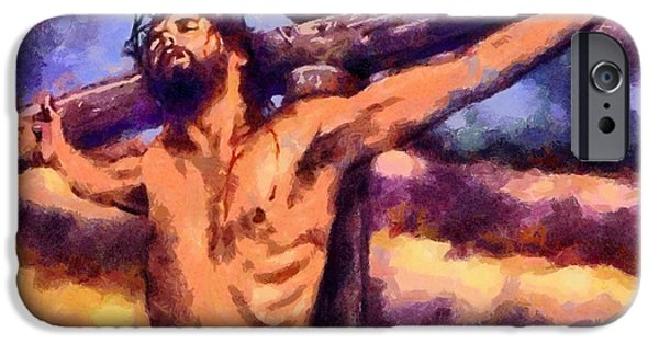 Christian . Devotional Paintings iPhone Cases - Religious Art 21 iPhone Case by Victor Gladkiy