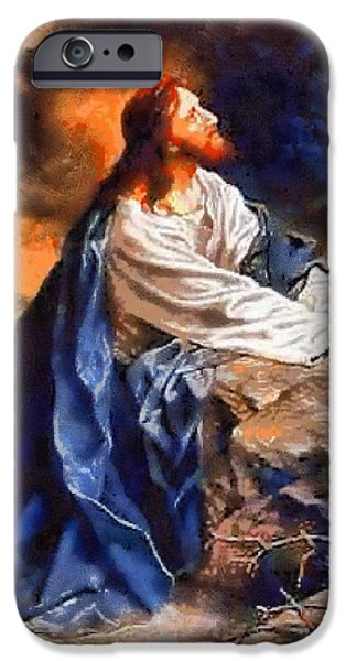 Christian . Devotional Paintings iPhone Cases - Religious Art 44 iPhone Case by Victor Gladkiy