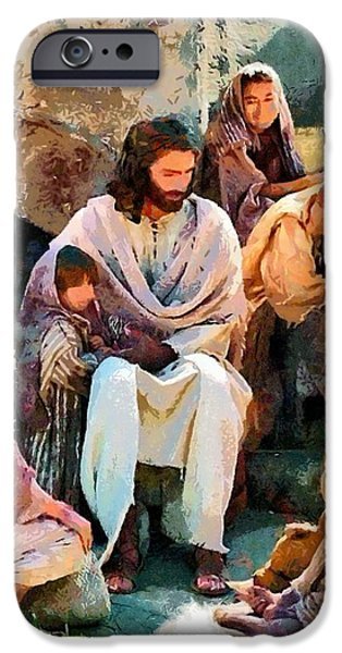Christian . Devotional Paintings iPhone Cases - Religious Art 53 iPhone Case by Victor Gladkiy