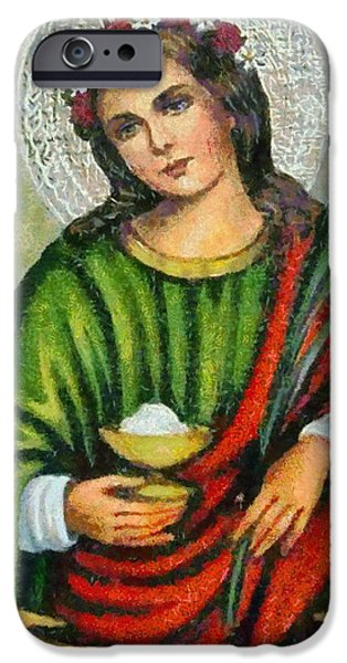 Christian . Devotional Paintings iPhone Cases - Religious Art 7 iPhone Case by Victor Gladkiy