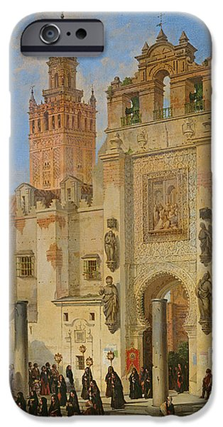 Catholic Church iPhone Cases - Religious Procession In Seville, 1853 Oil On Canvas iPhone Case by Joachin Dominguez Becquer