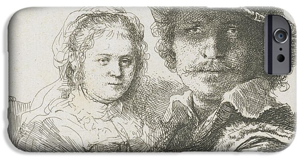 Rembrandt Drawings iPhone Cases - Rembrandt And His Wife Saskia iPhone Case by Rembrandt Van Rijn