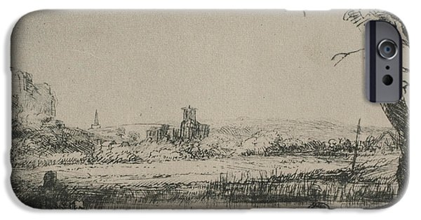Rembrandt Drawings iPhone Cases - Rembrandt sketch of cottage landscape iPhone Case by Rembrandt
