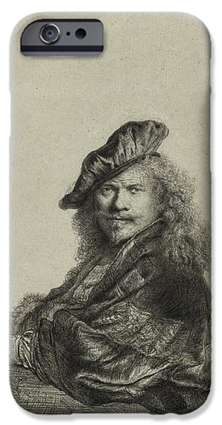 Business Drawings iPhone Cases - Rembrandt Self Portrait 1639 iPhone Case by Movie Poster Prints