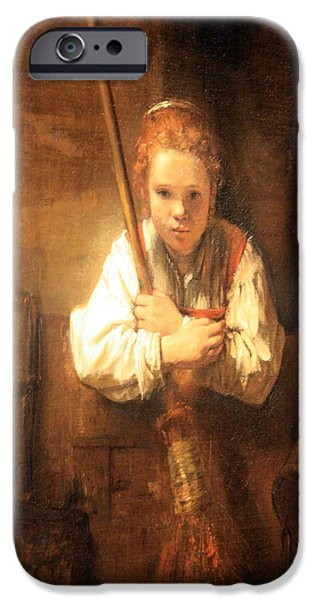Cora Wandel iPhone Cases - Rembrandt Workshops A Girl With A Broom iPhone Case by Cora Wandel