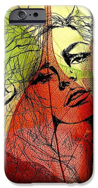 Mixed Media Drawings iPhone Cases - Remembering Fall iPhone Case by P J Lewis