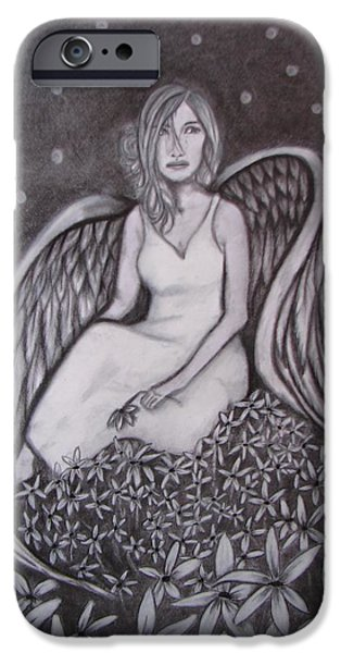 Night Angel Drawings iPhone Cases - Remembering the innocent iPhone Case by Rebecca Wiltfong Frisbee