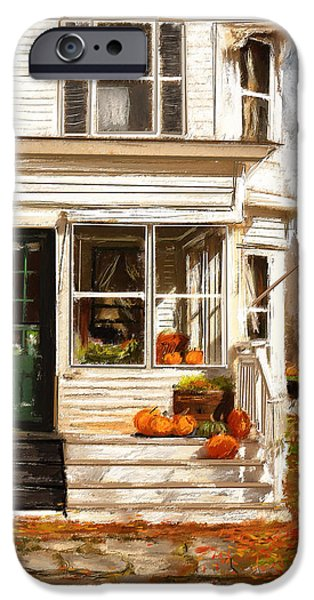 Farm Scene iPhone Cases - Remembering When- Porches Art iPhone Case by Lourry Legarde