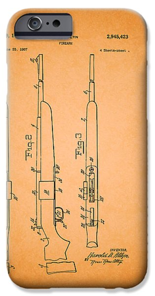 Weapon Drawings iPhone Cases - Remington Firearm Patent 1960 iPhone Case by Mountain Dreams