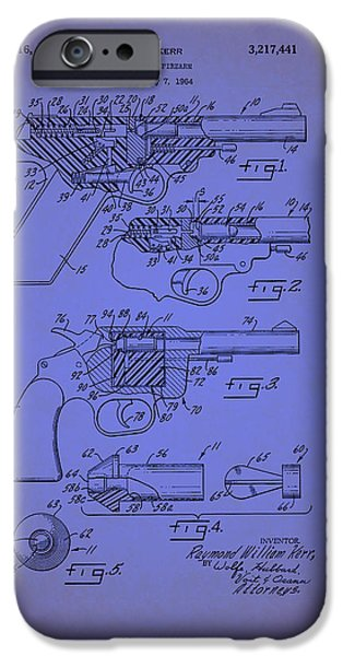 Weapon Drawings iPhone Cases - Remington Practice Pistol Patent 1965 iPhone Case by Mountain Dreams