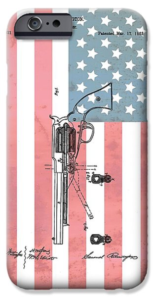 Republican Mixed Media iPhone Cases - Remington Revolver Patent American Flag iPhone Case by Dan Sproul
