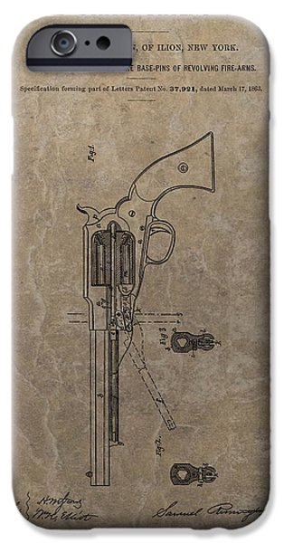 Republican Mixed Media iPhone Cases - Remington Revolver Patent iPhone Case by Dan Sproul