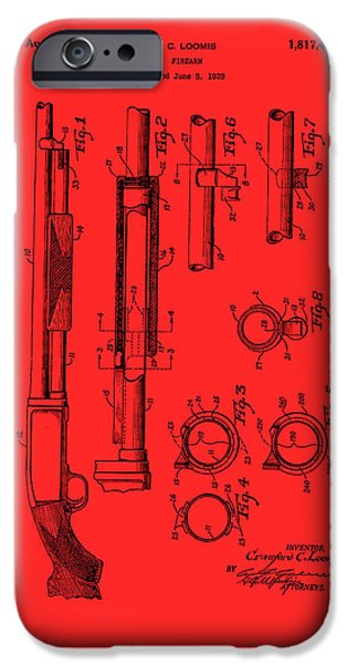 Weapon Drawings iPhone Cases - Remington Rifle Patent 1929 iPhone Case by Mountain Dreams