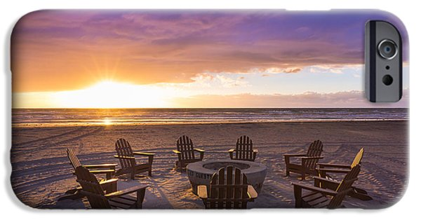 Adirondack Chairs On The Beach iPhone Cases - Reminisce  iPhone Case by Matthew Cappuccilli