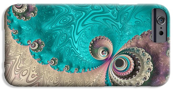 Abstract Digital Photographs iPhone Cases - Reminiscent Of A Peacock iPhone Case by Heidi Smith