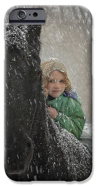 Snow iPhone Cases - Remme And Rory iPhone Case by Fran J Scott