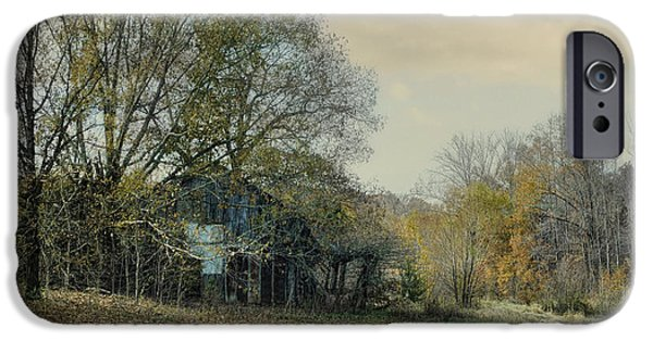 Fall Scenes iPhone Cases - Remnants - Old Barn Landscape Scene iPhone Case by Jai Johnson