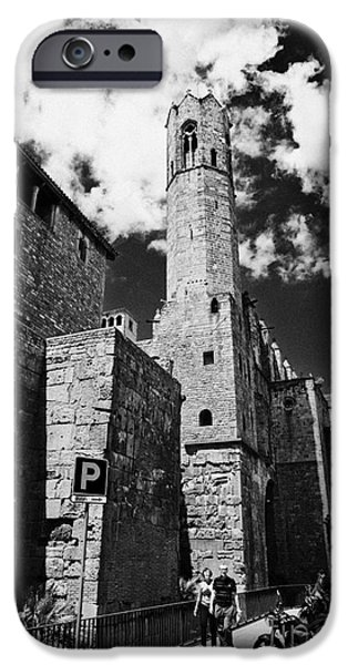 Remnant iPhone Cases - Remnants Remaining Sections Of Old Roman Walls Of Barcelona And Tower Of Royal Palace Catalonia Spai iPhone Case by Joe Fox