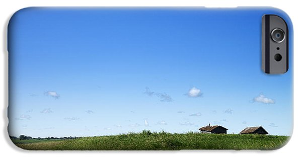 Prairie Landscape iPhone Cases - Remote Prairie Landscape with Abandoned Buildings iPhone Case by Donald  Erickson