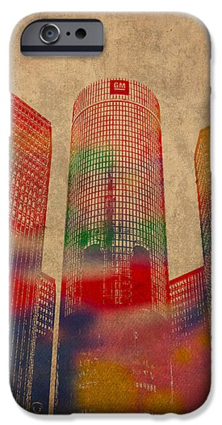 Buildings Mixed Media iPhone Cases - Renaissance Center Iconic Buildings of Detroit Watercolor on Worn Canvas Series Number 2 iPhone Case by Design Turnpike