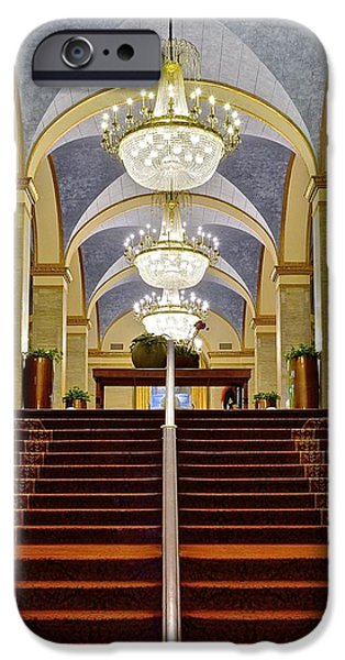 Red Carpet iPhone Cases - Renaissance Hotel Corridor iPhone Case by Frozen in Time Fine Art Photography