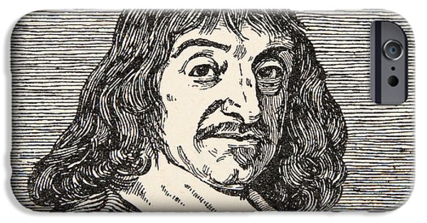 Portraits Drawings iPhone Cases - Rene Descartes iPhone Case by French School