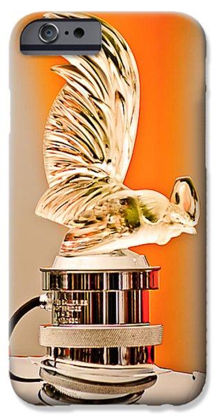 Rene Lalique -Coq Nain - 1930 Bentley Speed Six H.J Mulliner Saloon Hood Ornament iPhone Case by Jill Reger