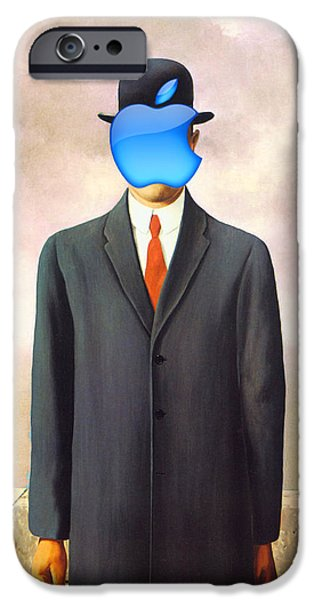 Decorating Mixed Media iPhone Cases - Rene Magritte Son of Man Apple Computer Logo iPhone Case by Tony Rubino