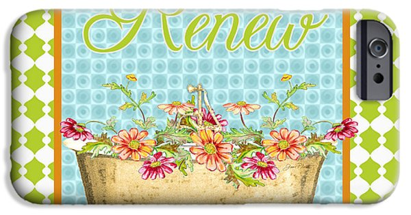 House Art iPhone Cases - Renew-Floral Bath Art iPhone Case by Jean Plout