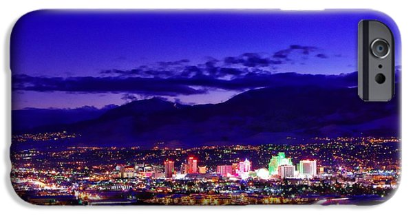 Winterscape iPhone Cases - Reno Winter Cityscape iPhone Case by Scott McGuire