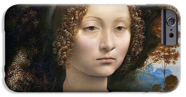 National Gallery Art iPhone Cases - DA VINCI BEAUTY GINEVRA de BENCI 1474 iPhone Case by Daniel Hagerman