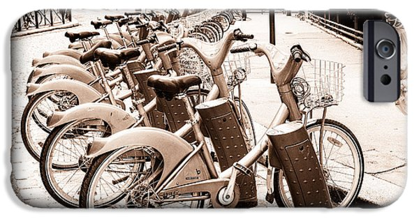 Velo iPhone Cases - Rent A Bike in Paris Toned iPhone Case by Nomad Art And  Design