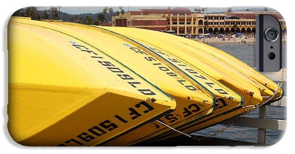 Santa Cruz Wharf iPhone Cases - Rental Boats On The Municipal Wharf At Santa Cruz Beach Boardwalk California 5D23795 iPhone Case by Wingsdomain Art and Photography