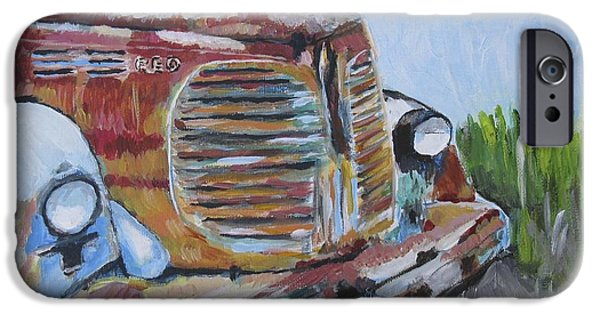 Mechanics Paintings iPhone Cases - REO Speedwagon iPhone Case by Kathy Stiber