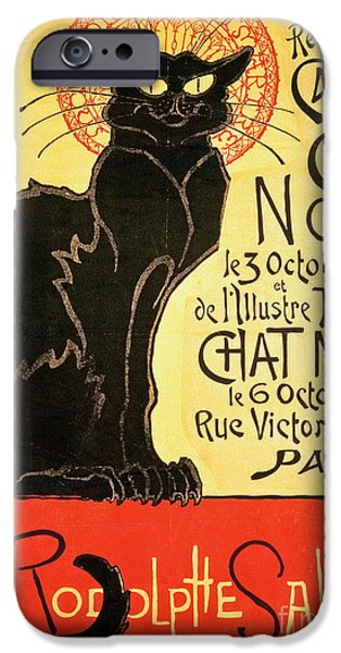 Cat Drawings iPhone Cases - Reopening of the Chat Noir Cabaret iPhone Case by Theophile Alexandre Steinlen