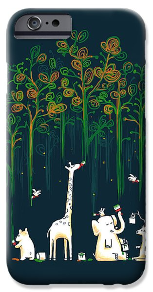 Child Digital iPhone Cases - Repaint the forest iPhone Case by Budi Kwan