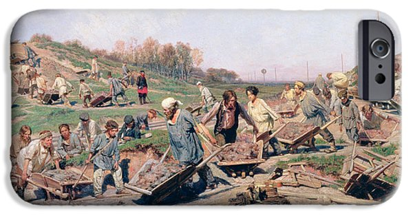 Labour iPhone Cases - Repair Works On The Railway Line, 1874 Oil On Canvas iPhone Case by Konstantin Apollonovich Savitsky