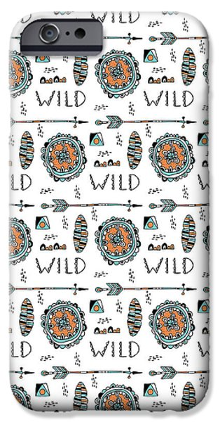 Graphic Design iPhone Cases - Repeat Print - Wild iPhone Case by Susan Claire