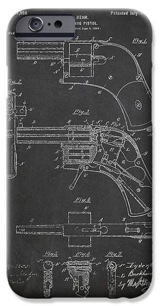 Pistol iPhone Cases - Repeating Pistol Drawing From 1899 iPhone Case by Aged Pixel