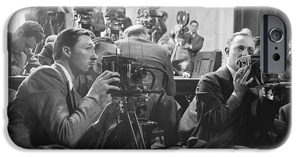 Ewing iPhone Cases - Reporters Filming Law Hearings, 1939 iPhone Case by Library Of Congress